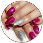 lecente glitter nails pink and silver
